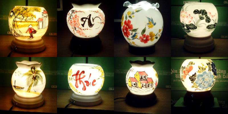 Đèn xông tinh dầu điện gốm sứ Bát Tràng