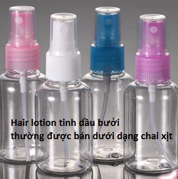 Hair lotion tinh dầu bưởi bán ngoài thị trường thường dưới dạng chai xịt